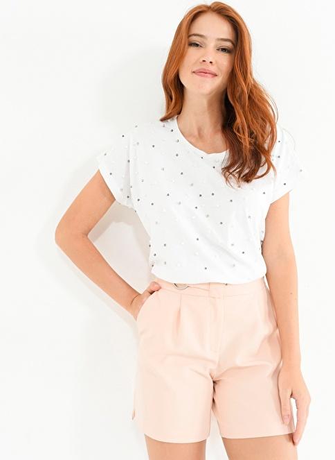People By Fabrika İnci İşlemeli Tişört Beyaz